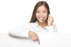Customer Service woman showing billboard sign Stock Photography