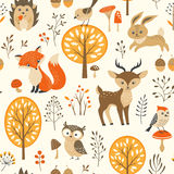 Cute autumn forest pattern Stock Photos