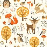 Cute autumn forest pattern Stock Photos