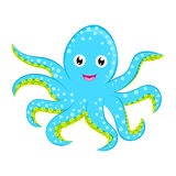 Cute baby octopus vector Cyan blue spotted cartoon character isolated on white background Ocean animal, sea life, funny smiling sq Royalty Free Stock Image