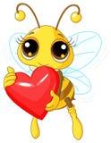 Cute Bee holding Love heart Stock Photo