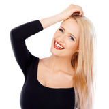 Cute blond girl with red lipstick on her lips Stock Photo