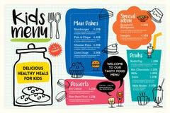 Cute colorful kids meal menu template Royalty Free Stock Image