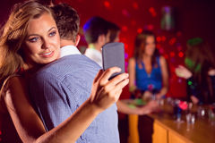 Cute couple slow dancing together Stock Images