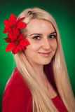 Cute girl with fake flowers Stock Photo