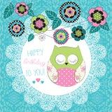 Cute happy birthday owl  illustration Royalty Free Stock Photo
