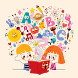 Cute kids reading book education concept illustration Royalty Free Stock Images