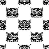 Cute little wise old owl seamless pattern Royalty Free Stock Images