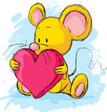 Cute mouse with heart pillow Stock Images