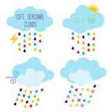 Cute Seasonal Cloud Vector Icons Stock Photos