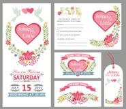 Cute wedding card design template set.Floral decor Stock Photos