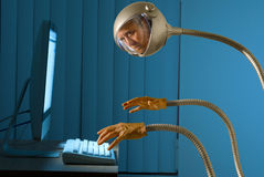 Cyber robot internet hacking thief Royalty Free Stock Image