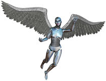Cyborg Angel Isolated di Android del robot Fotografia Stock Libera da Diritti