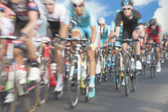 Cyclists, motion blur Stock Photos