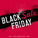 Czarny Piątek sprzedaży sztandar na czerwonym knitwear tle, wektor Fotografia Stock