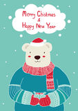 Dé el oso lindo exhausto que sostiene la caja de regalo para las plantillas de la tarjeta de Navidad Cartel de la Navidad, ejempl Imagenes de archivo