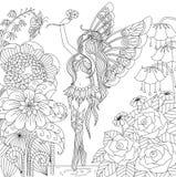 Dé el vuelo de hadas exhausto en la tierra de la flor para el libro de colorear para el adulto Imagenes de archivo