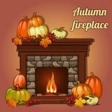 Décor, potirons et cheminée d'automne Photo stock