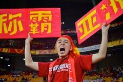 Défenseur chinois du football dans l'Australie Photographie stock