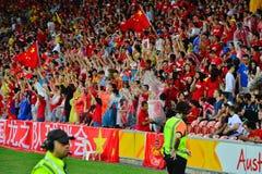 Défenseurs chinois du football Photographie stock libre de droits