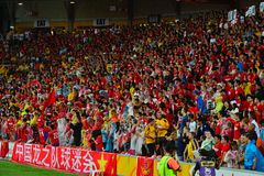 Défenseurs chinois du football dans l'Australie Photos libres de droits
