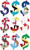 Dólares com várias bandeiras - grupo Fotografia de Stock Royalty Free