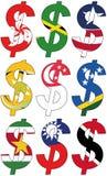 Dólares com várias bandeiras - grupo Foto de Stock Royalty Free