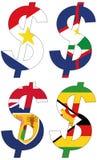 Dólares com várias bandeiras - grupo Imagens de Stock Royalty Free
