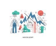 Dünne Linie flaches Design vom Wintersport Stockfotos