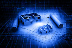 3d architecture house blue print plan Stock Images
