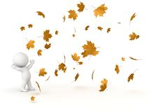 3D Character Looking up at falling Autumn Leaves Royalty Free Stock Photography