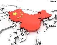 3d china map with national flag Stock Image