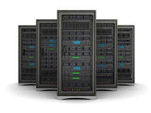 3d illustration of row the server racks Royalty Free Stock Photo