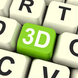 3d Key Shows Three Dimensional Printer Or Font Stock Image