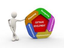 3d man standing with software development chart Stock Photo