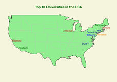 2d map of top ten (10) university in the USA Royalty Free Stock Photography