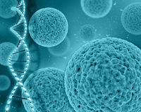 3D medical background with virus cells and DNA strands Stock Photography
