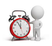 3d person with an alarm clock Royalty Free Stock Photo
