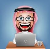 3D Realistic Saudi Arab Businessman Cartoon Character Sitting Working Royalty Free Stock Images