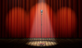 3d stage with red curtain and vintage microphone in spot light Royalty Free Stock Photos