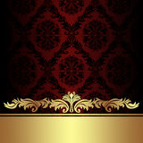 Damask red ornamental Background with golden royal Border. Royalty Free Stock Photo