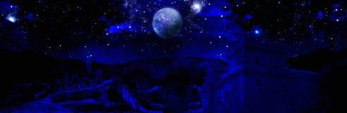 Dark night full moon Stock Image