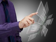Data on touch screen Stock Photo
