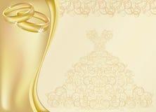 De kaart van de huwelijksuitnodiging met twee gouden ringen Royalty-vrije Stock Afbeelding