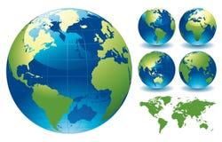 De Kaarten van de Bol van de wereld Stock Foto