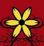 De Krullen van het decor met Gele Bloem & Rode Achtergrond Stock Foto