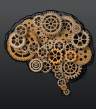 De menselijke hersenen bouwen uit radertjes en toestellen Royalty-vrije Stock Fotografie