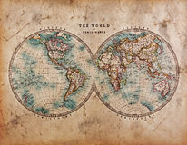 De oude Kaart van de Wereld in Hemisferen Royalty-vrije Stock Foto's