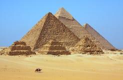 De piramides in Egypte Stock Fotografie