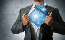 De super held van de technologie Stock Foto's
